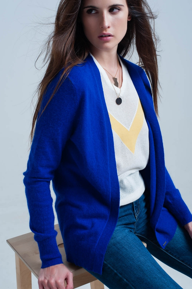Blue soft Long sleeves cardigan