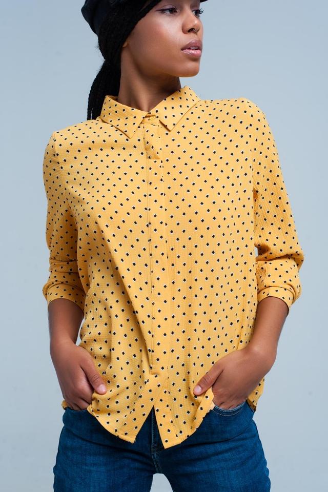 mustard long sleeves printed shirt