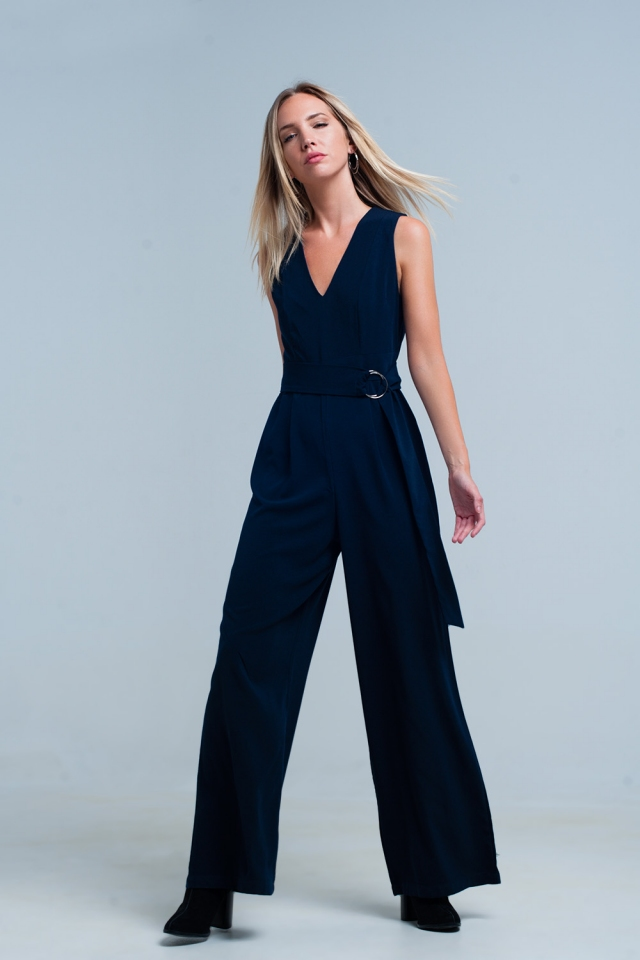 Navy v-neck jumpsuit with a belt