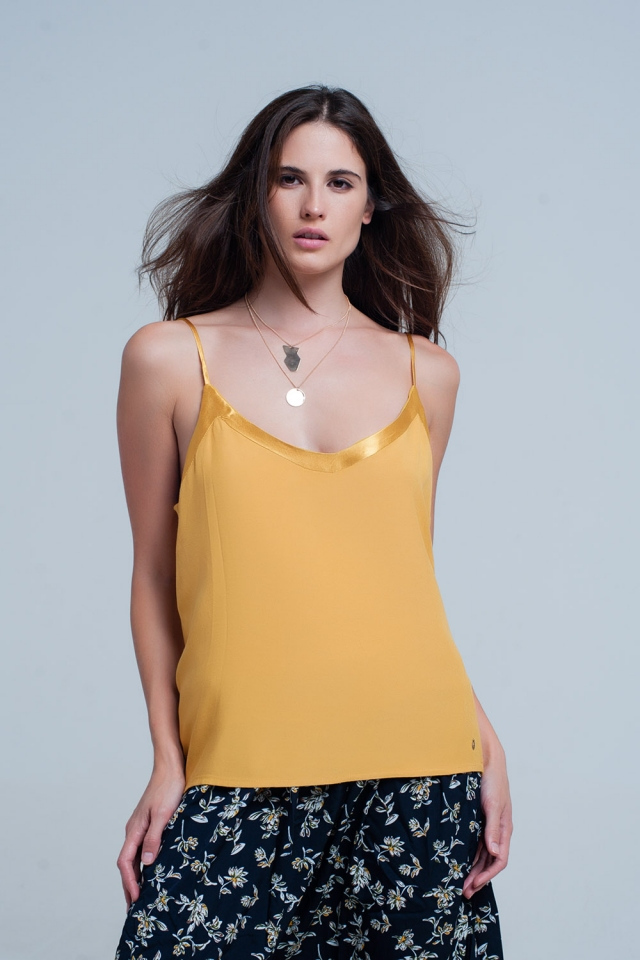 Mustard cami top with shiny pattern