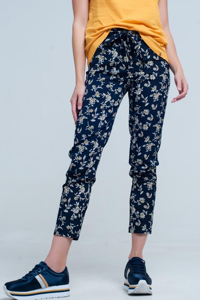 Blaue Blumen-Print Hose mit Gürtel