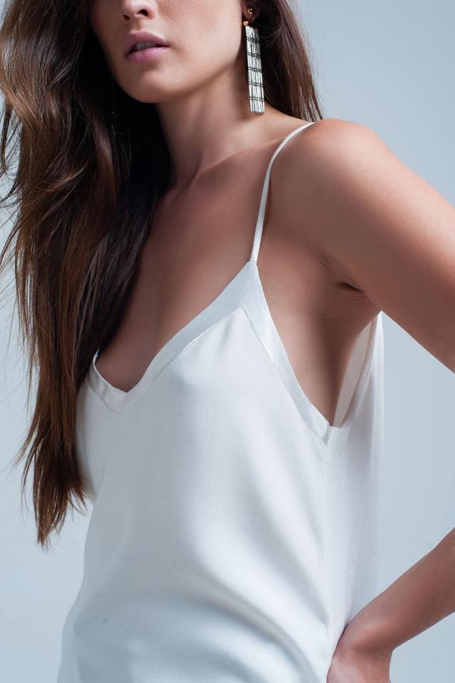 weiß ärmellose Bluse mit glänzendem Muster