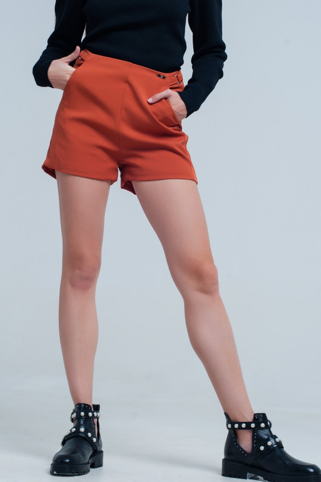 High waist orange shorts