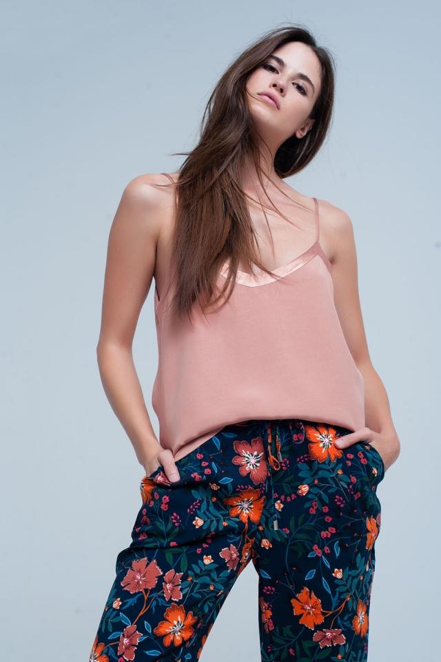 rosa ärmellose Bluse mit glänzendem Muster