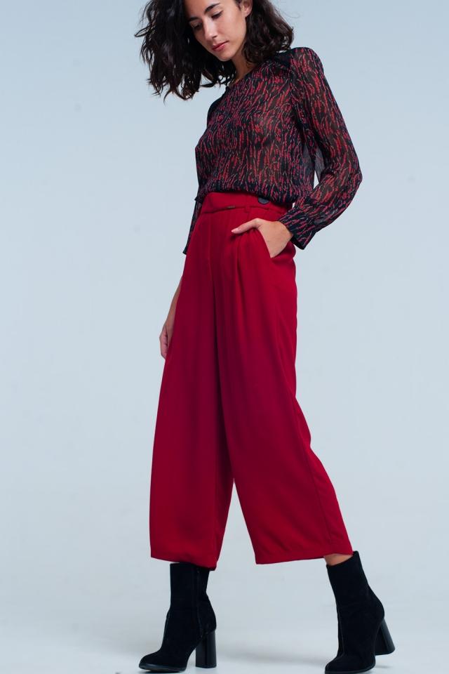 rot Karierter Hosenrock mit weitem Bein