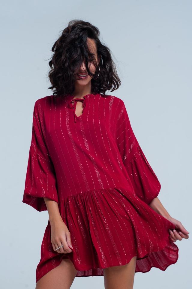 Bordeaux Kleid en metallic strepen lurex