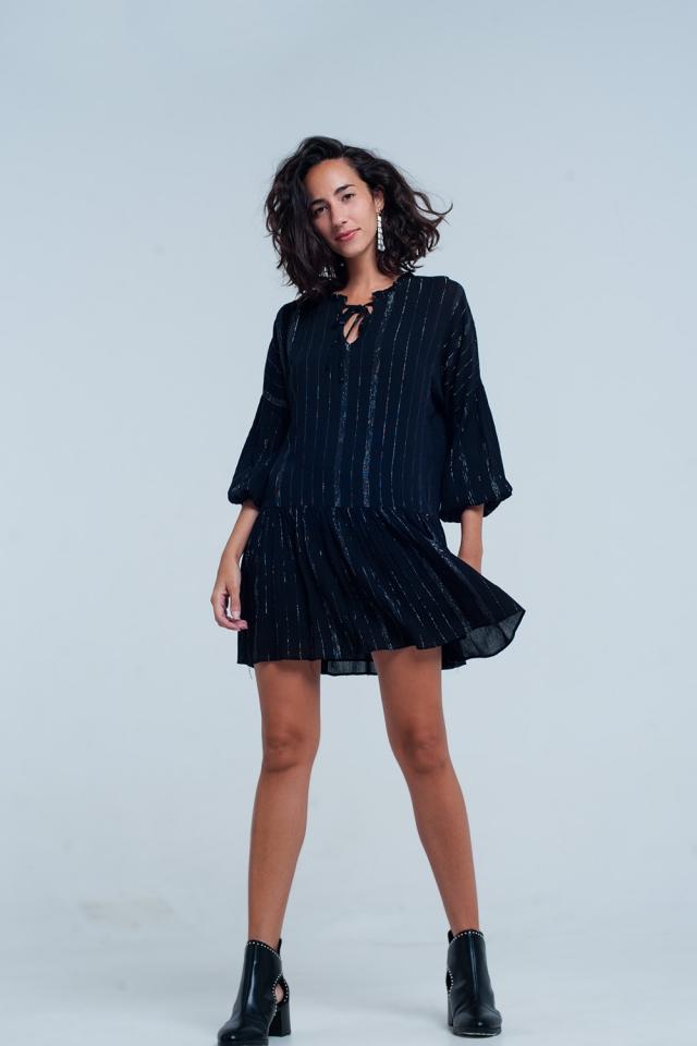 schwarz Kleid en metallic strepen lurex