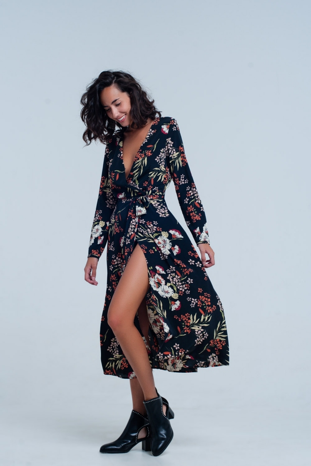 Black floral print wrap midi dress