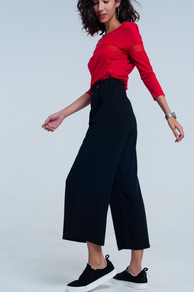 schwarz Karierter Hosenrock mit weitem Bein