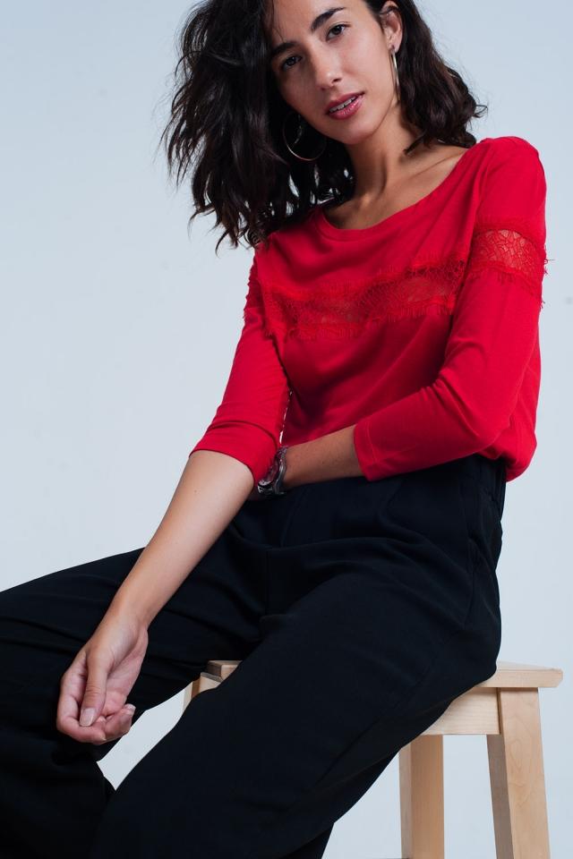 rood T-Shirt mit 3/4-Ärmeln mit Wimpernborte
