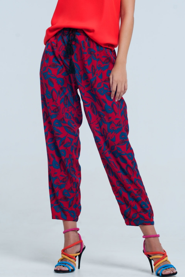 Red floral wide leg Pants