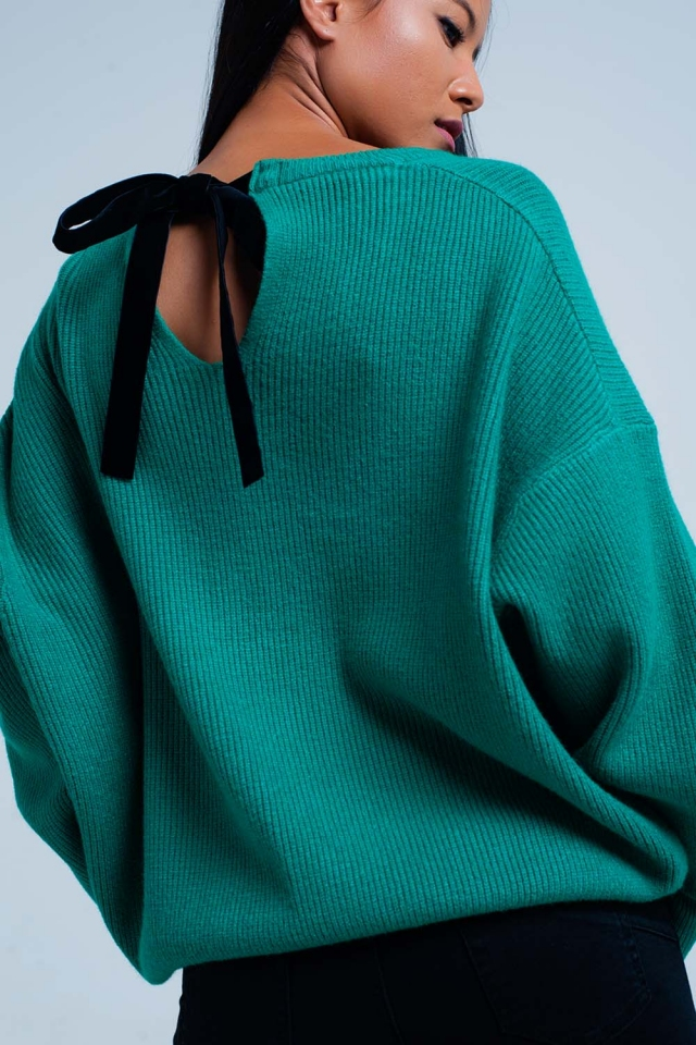 Tie Back Green Sweater