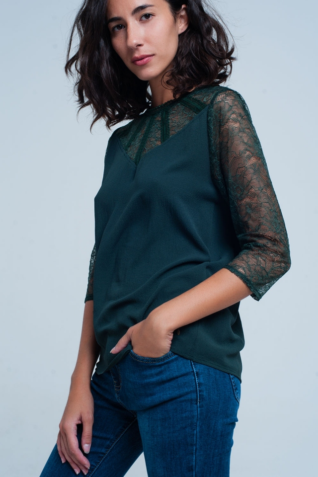 Green lace detail blouse