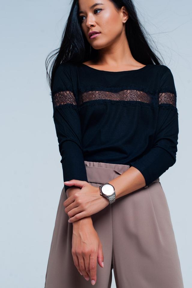 Black 3/4 Sleeve T-Shirt With Eyelash Trim