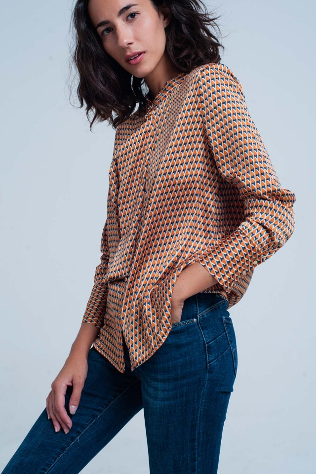 orange Geo Print Blouse with Tie Front