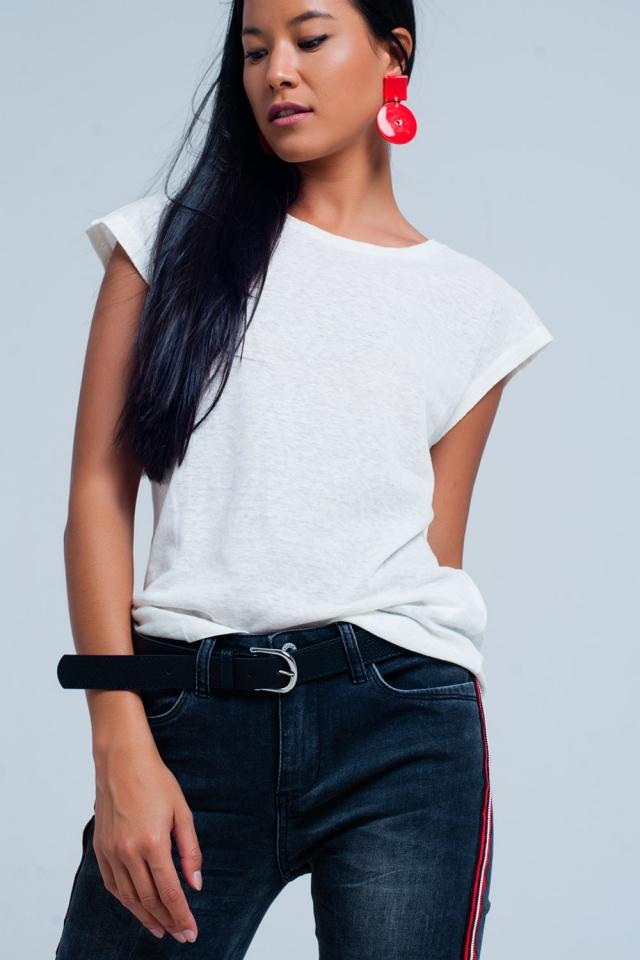 Weißes T-Shirt mit Rundhalsausschnitt