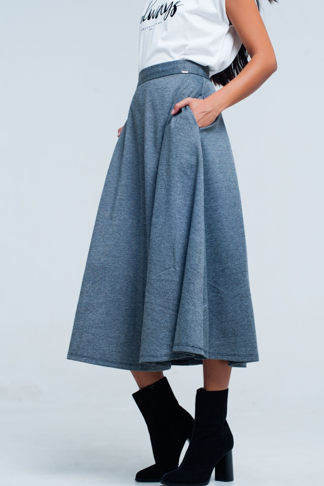 Grey midi skirt with zig zag pattern