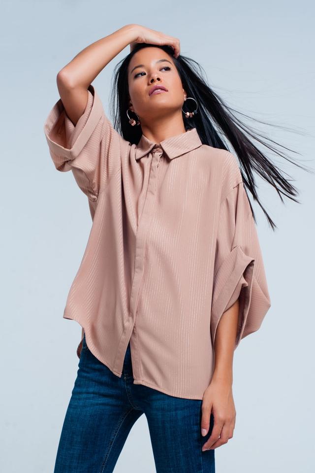 Rosa oversized Shirt mit Lurex Details