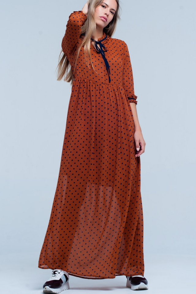 Orange maxi dress in polka dots pattern