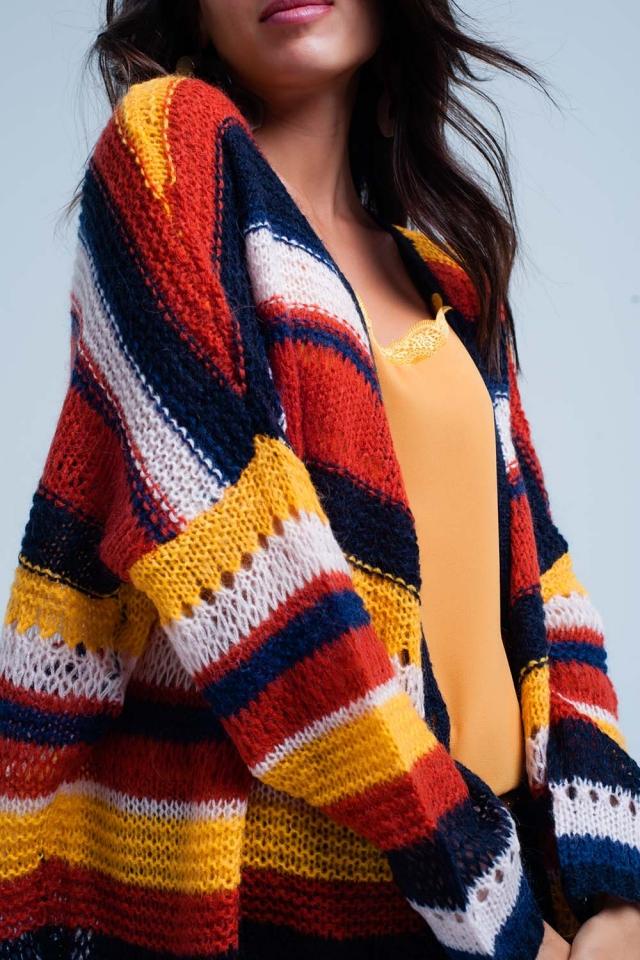 Chunky Knit Cardigan stripes
