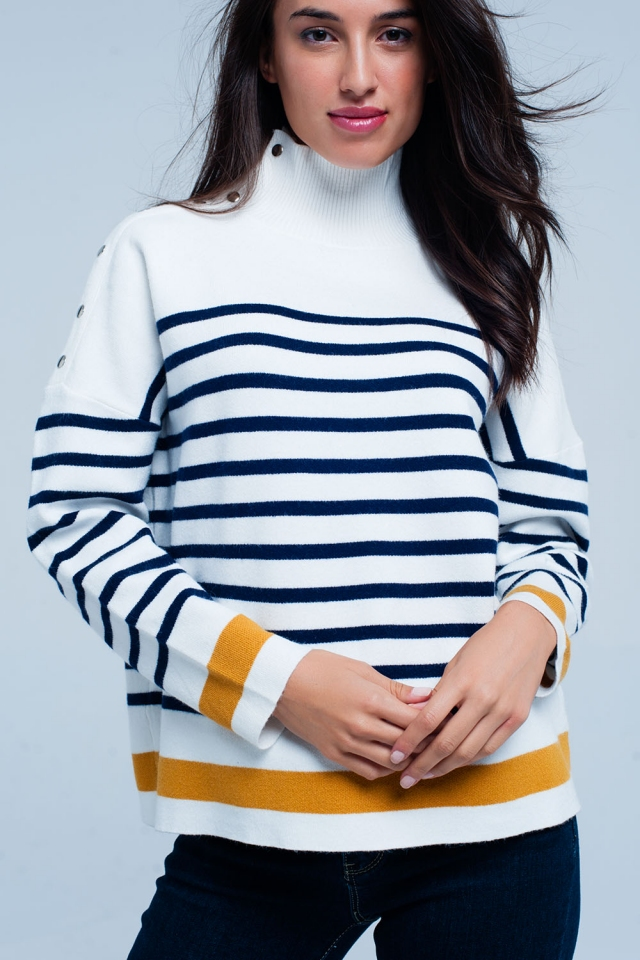 Cream stripey turtle neck sweater with buttons