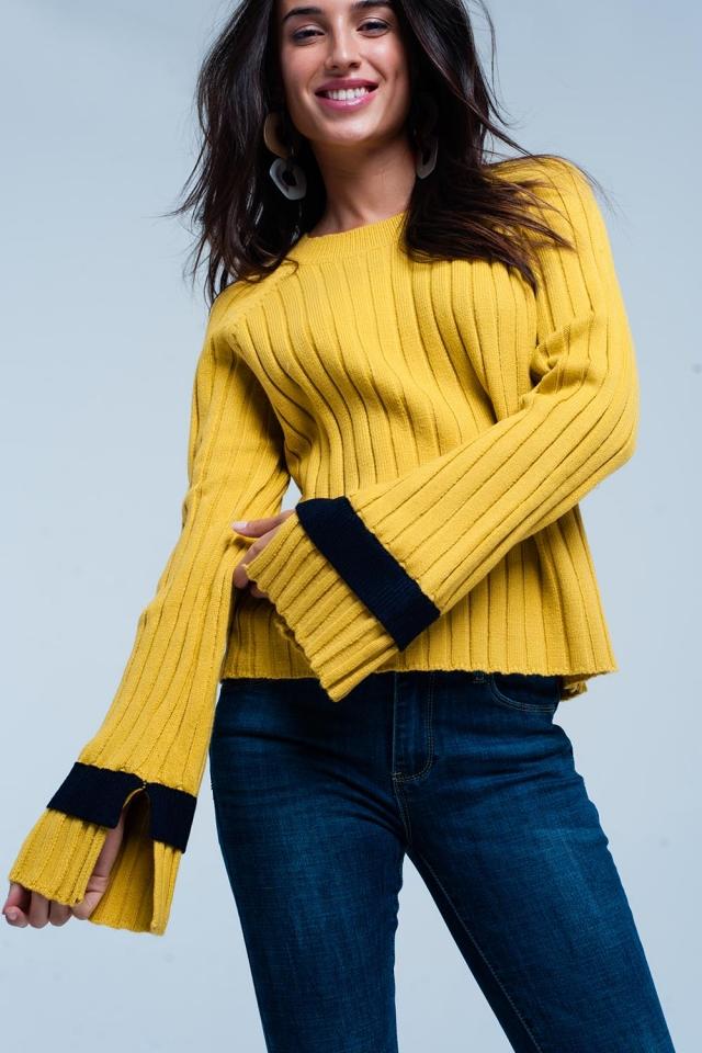 Mustard flared sleeve knit sweater