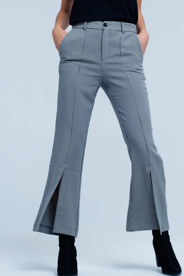 Black Checkered Flare Pants