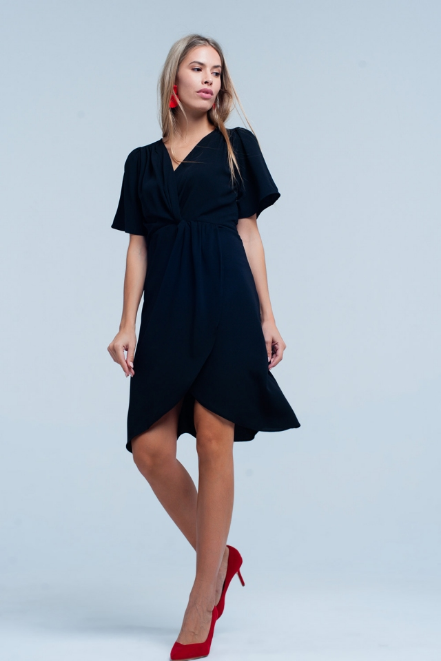 Black wrapped midi dress