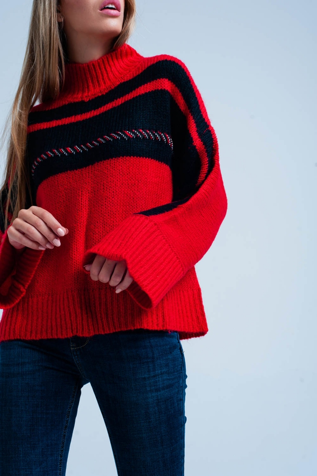 Red Oversized Sweater Vertical Stripe
