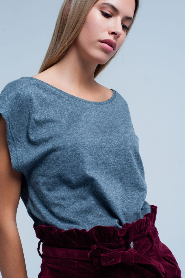 Grey T-shirt with scoop neck