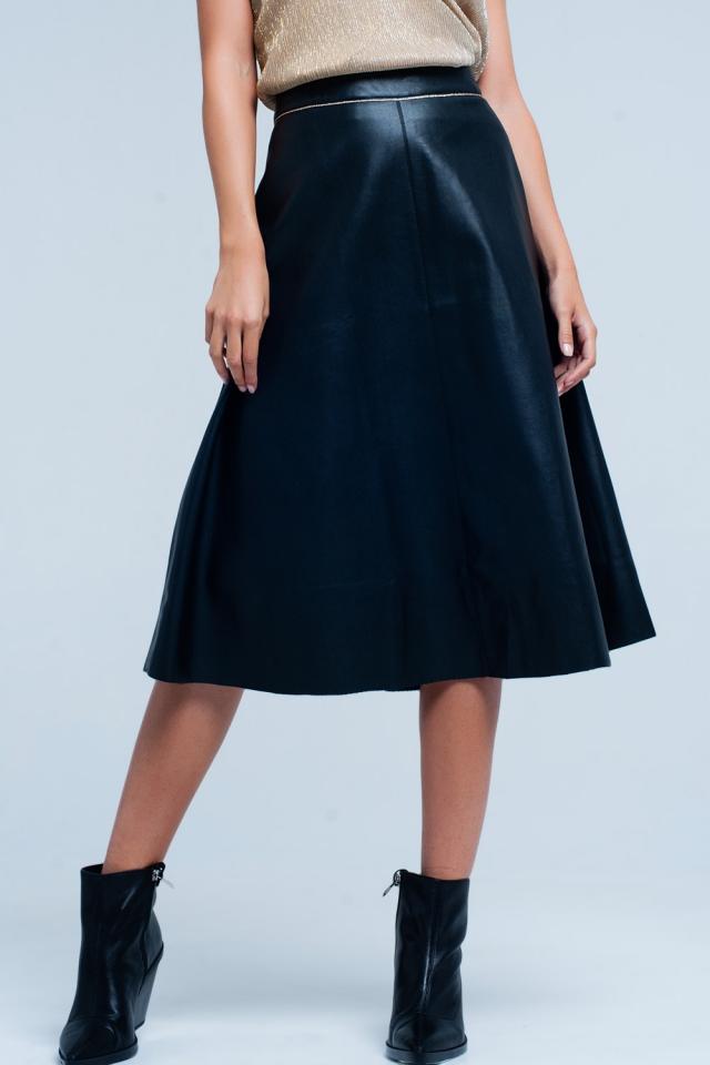 Black leather look midi skirt golden detail