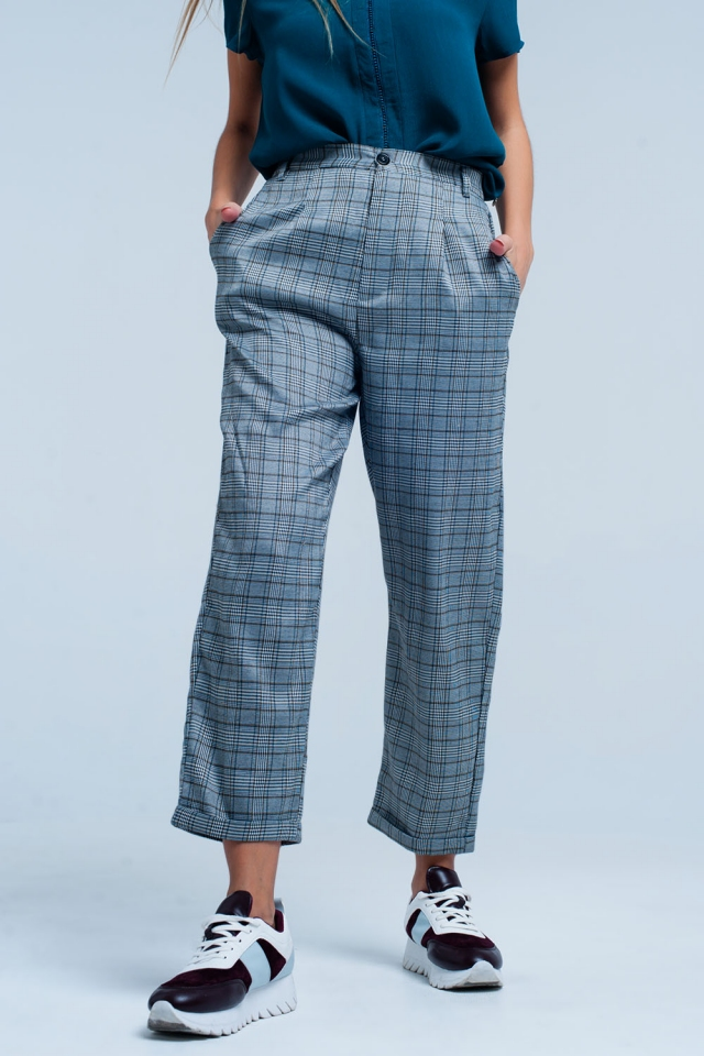 Grey Checkered pants with stretch band