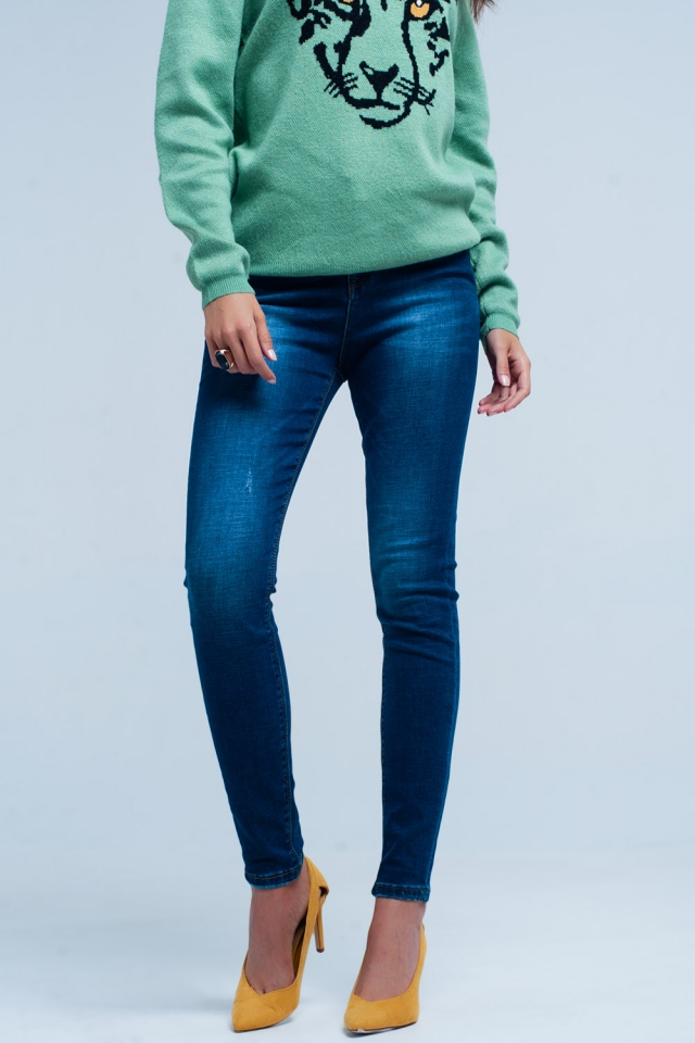 Dark Blue little ripped skinny jeans