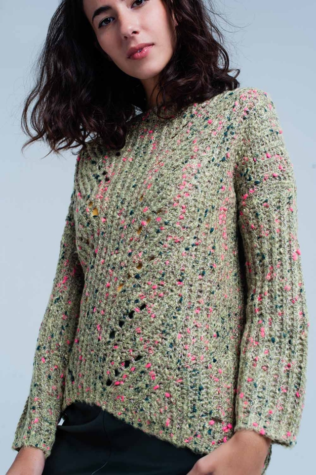 Green Chunky Fleck Knit Sweater Pink Detail