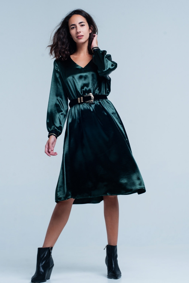 Green Satin party midi Dress