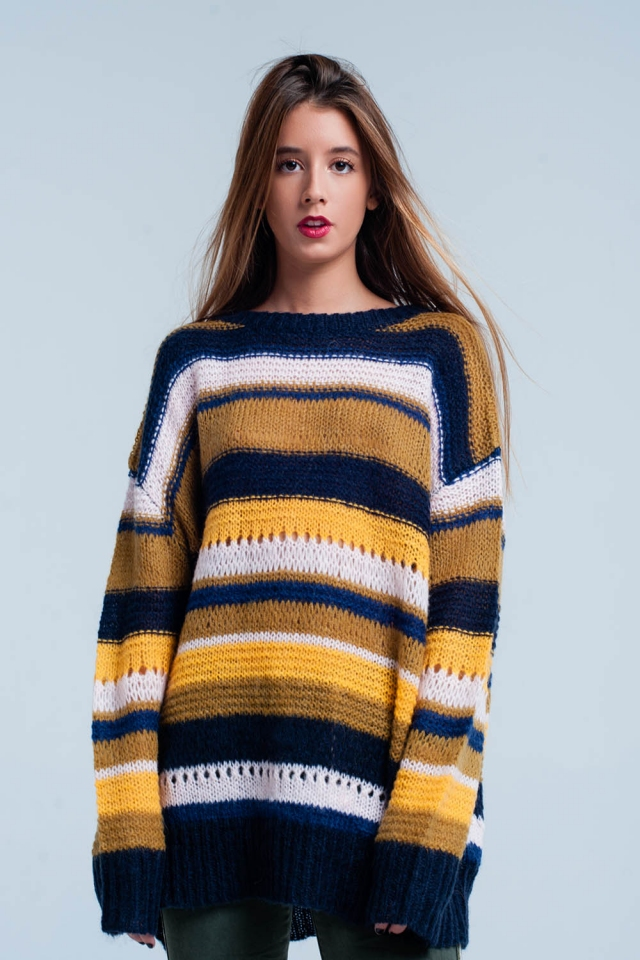 Mustard chunky knit striped Sweater