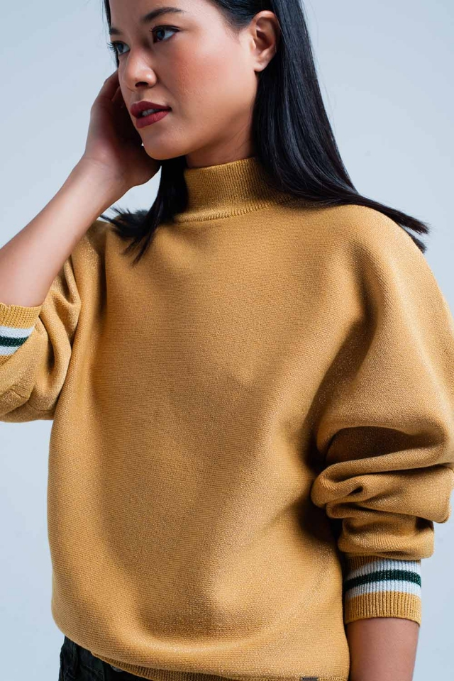 Mustard Glitter Sweater with high neck