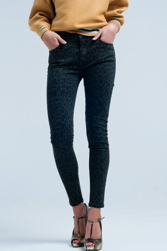 Green Skinny Pants in Leopard Print