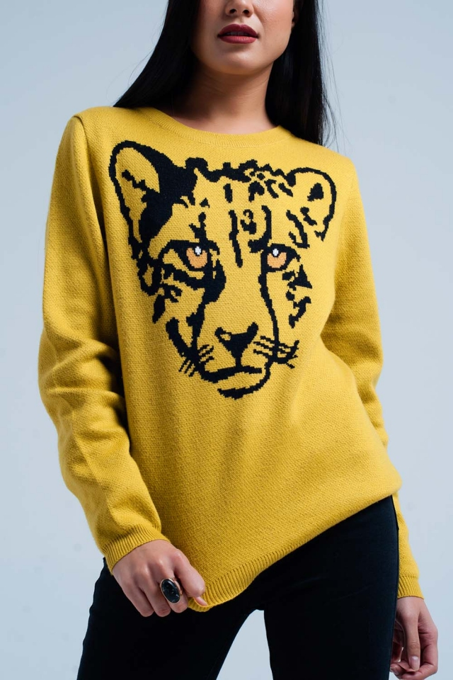Mustard Knit Sweater with Leopard