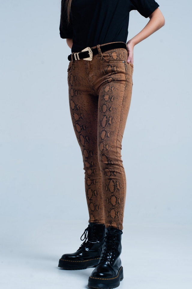 Orange Skinny Pants in Snake Print