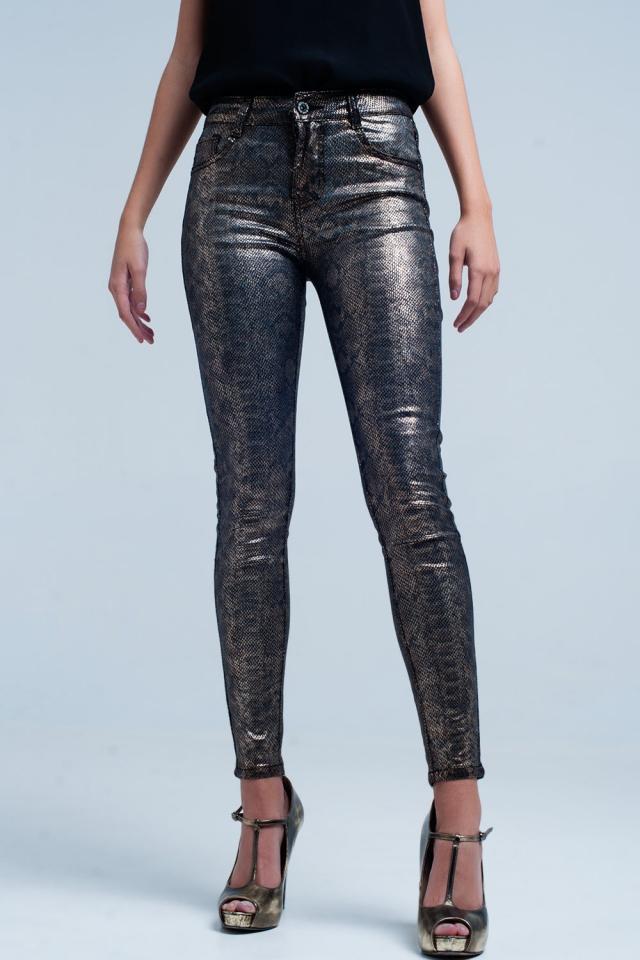Gold Skinny Pants in Snake Print