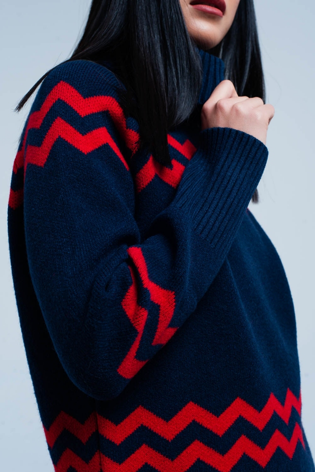 Navy Turtleneck Sweater in Zigzag Print