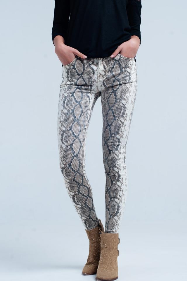 Beige Skinny Pants in Snake Print