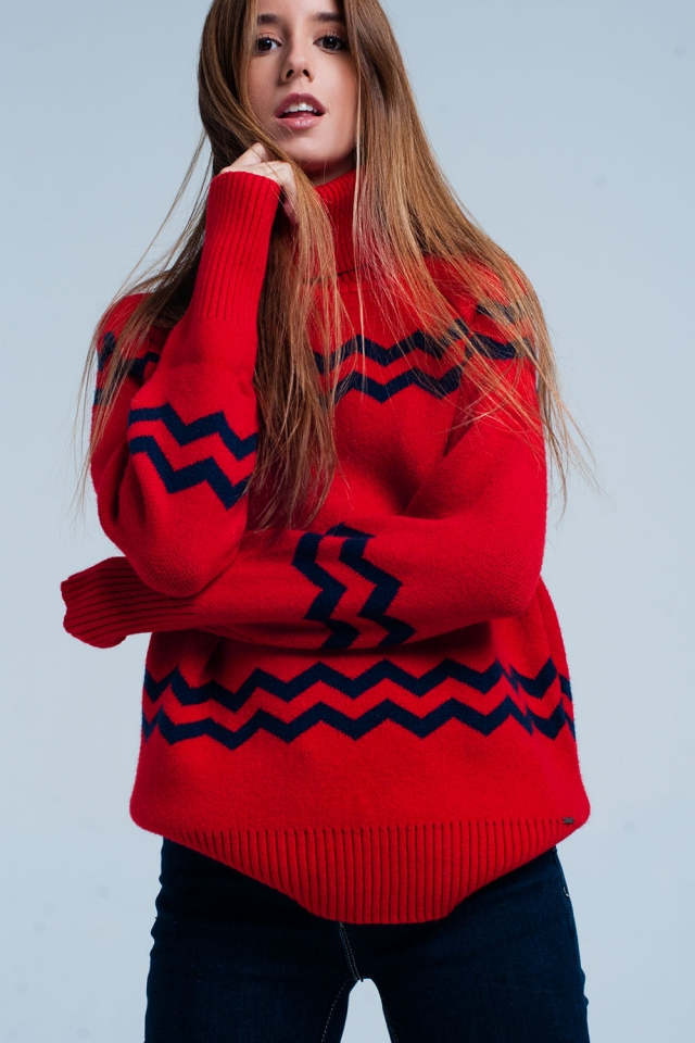 Red Turtleneck Sweater in Zigzag Print
