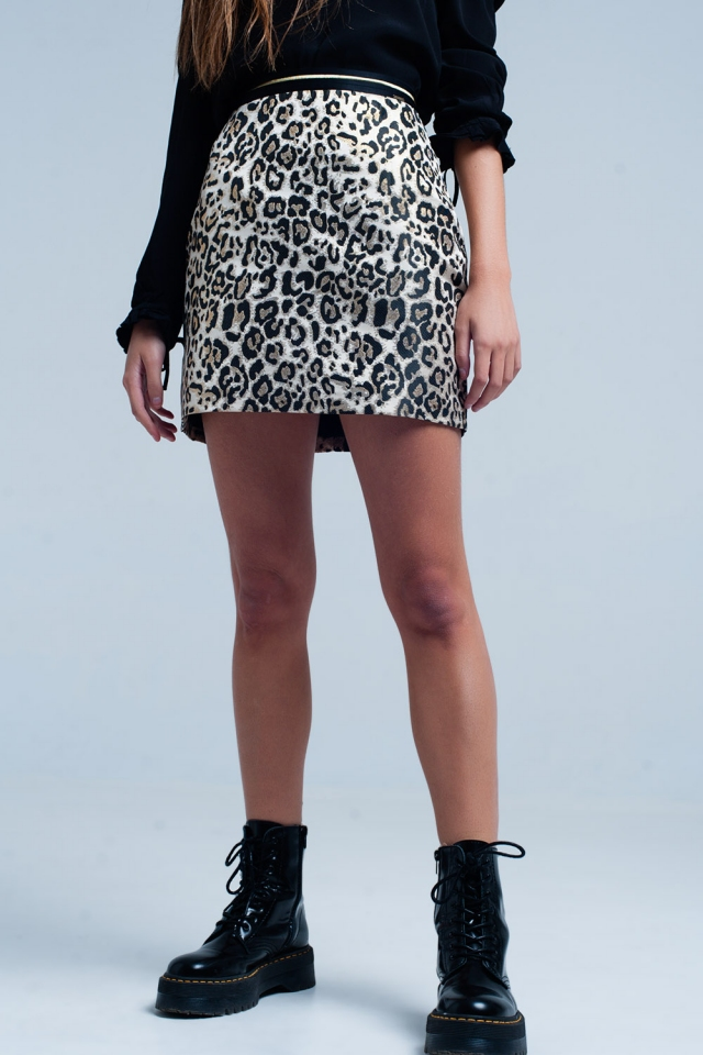 Brown Mini Skirt in Leopard Print