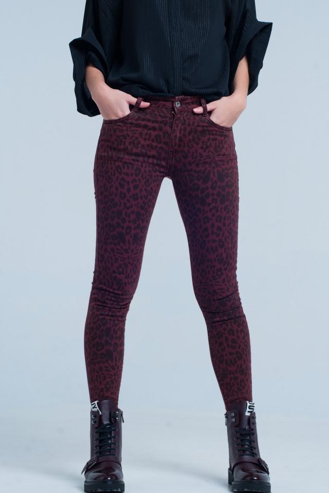 Red Skinny Pants in Leopard Print