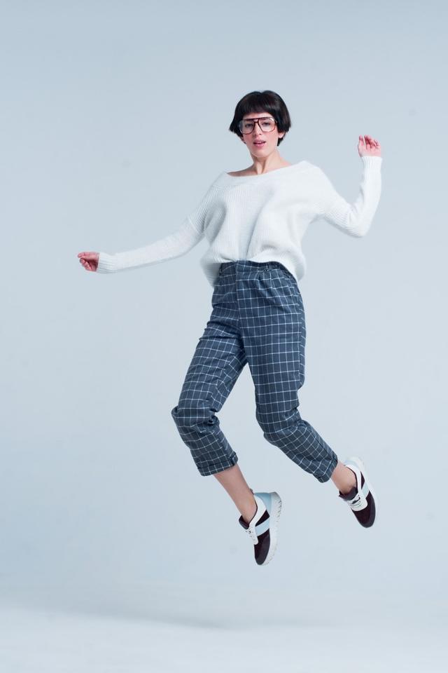 Grey Pants in White Tartan Print