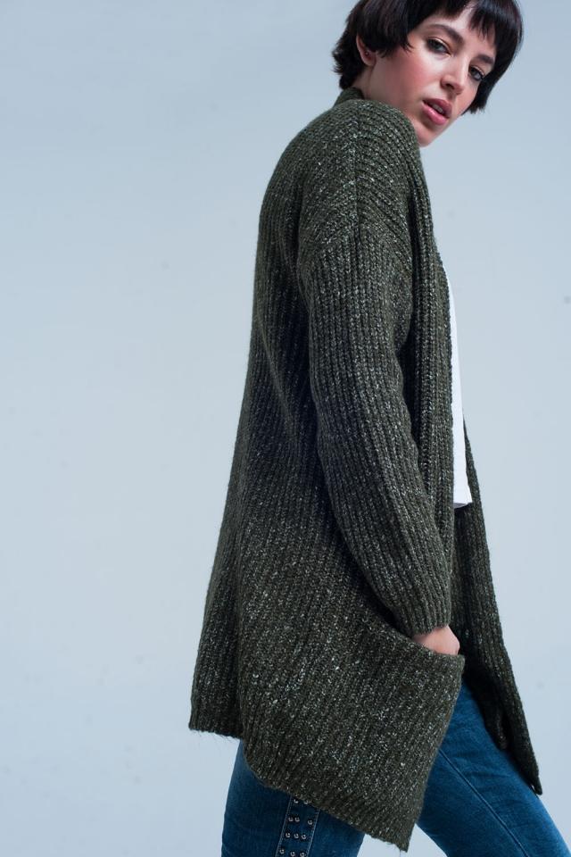 Green Fleck Knitted Cardigan