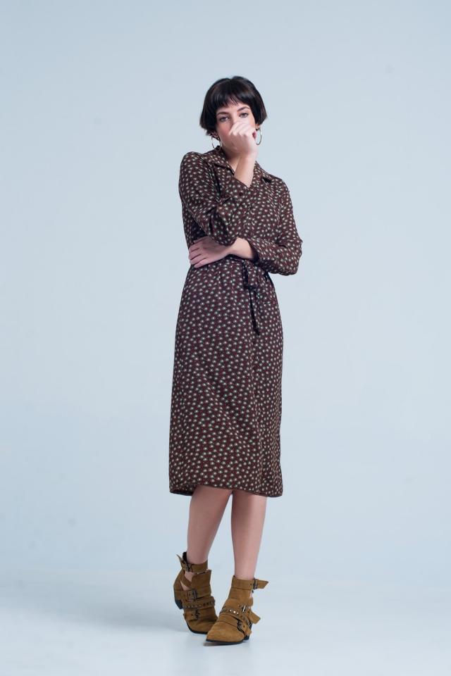 Brown Midi Dress with Collar