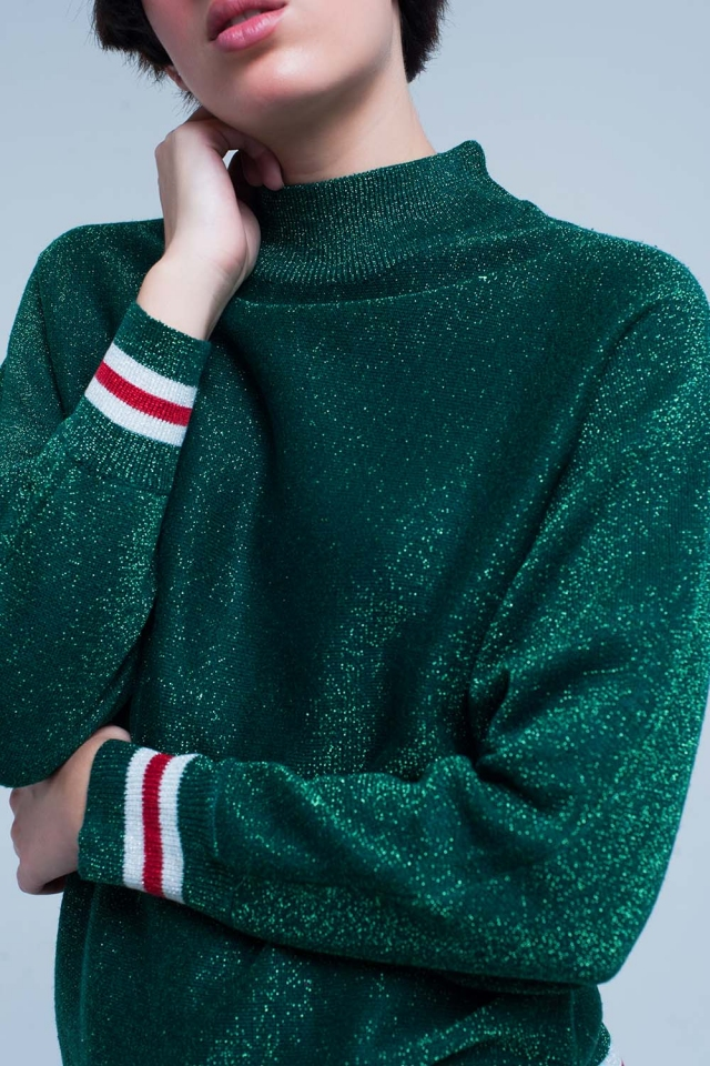 Green Glitter Sweater with Mock Neck